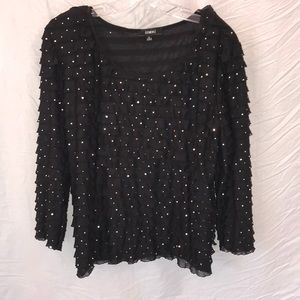 NWOT Elementz Sequin black top